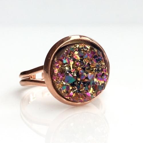 Copper Magenta faux druzy rose gold ring