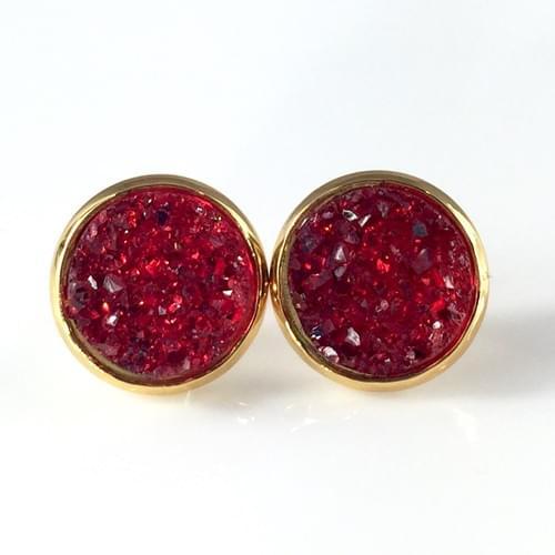 Red faux druzy gold earrings