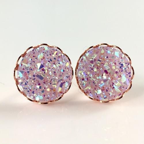 Light mauve faux druzy rose gold lace earrings