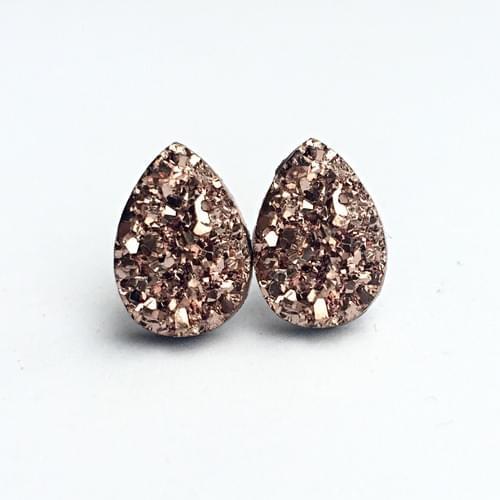 Rose Gold faux druzy teardrop post earrings