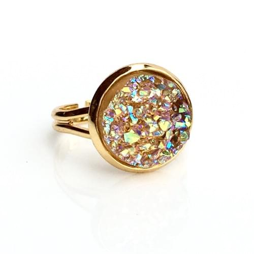Iridescent Peach faux druzy gold ring