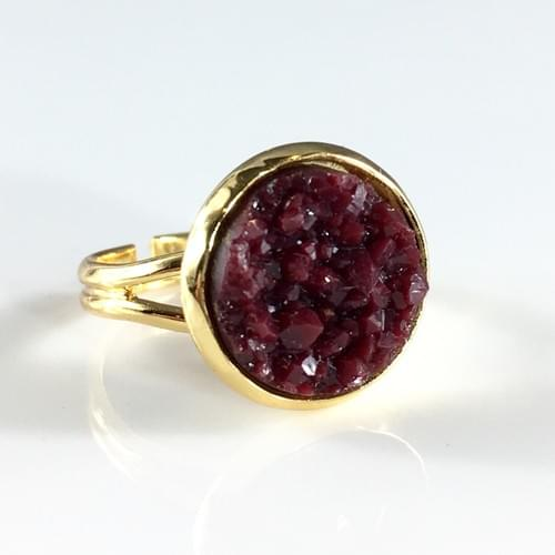 Maroon faux druzy gold ring
