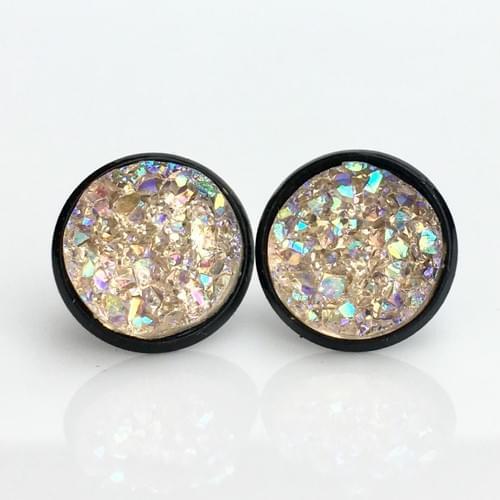 Light Champagne faux druzy black earrings