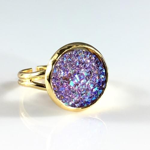 Flat sparkly lavender gold ring