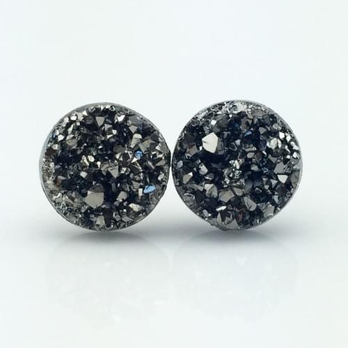 Metallic grey faux druzy post earrings