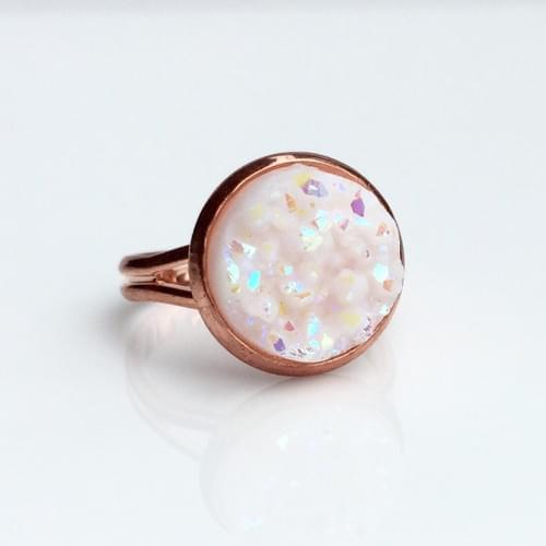Opal White faux druzy rose gold rings