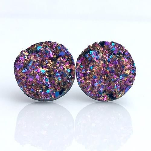 Copper Magenta Rainbow faux druzy post earrings
