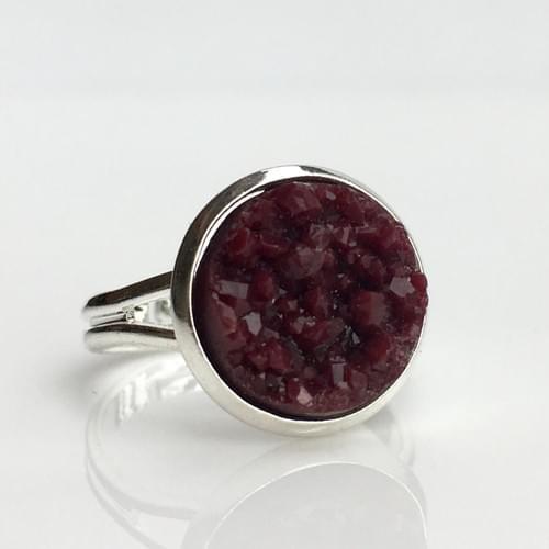 Maroon faux druzy silver ring
