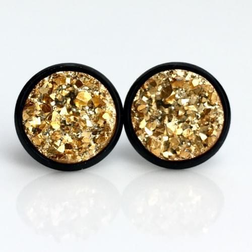 Golden faux druzy black earrings