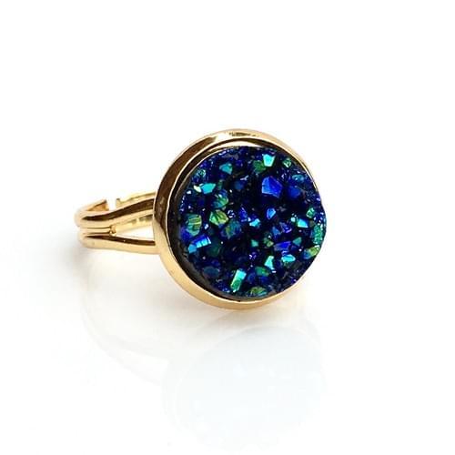 Ocean Blue faux druzy gold ring