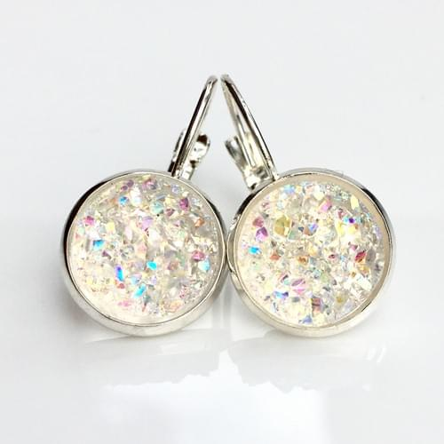 Iridescent Crystal faux druzy silver leverback earrings