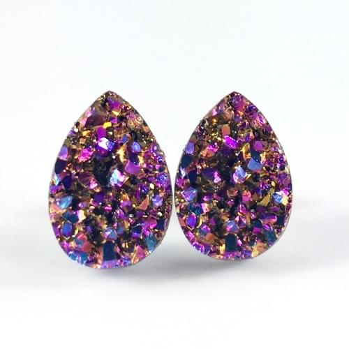Copper Magenta Rainbow faux druzy teardrop post earrings