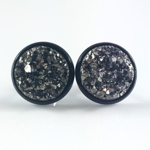 Metallic grey faux druzy black earrings