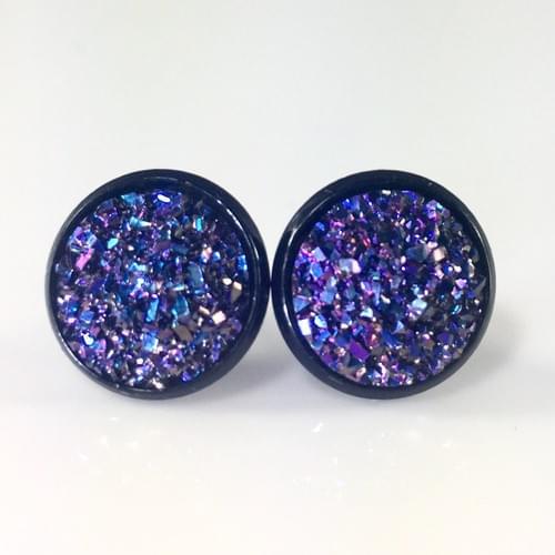 Flat rocky violet blue faux druzy black earrings