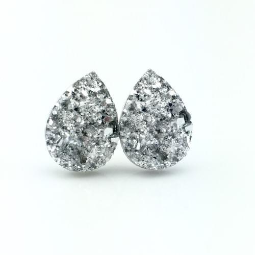 Silver faux druzy teardop post earrings