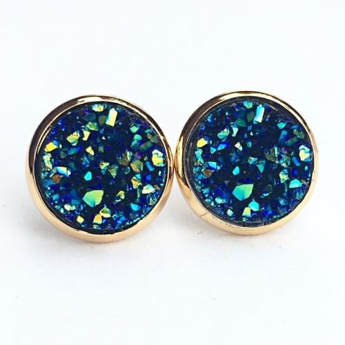 Ocean blue faux druzy gold earrings