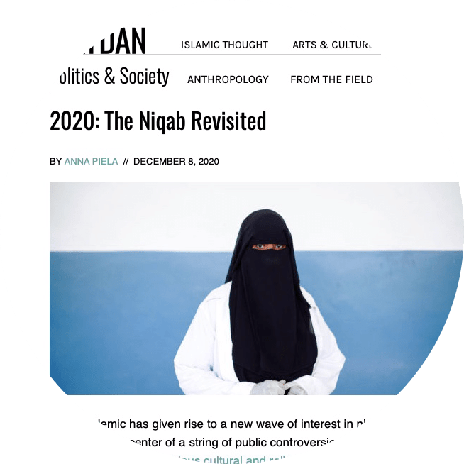 a screenshot of an article about the niqab with a photo of a woman wearing a niqab