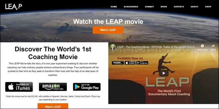 Leap, the coaching movie, website and shop