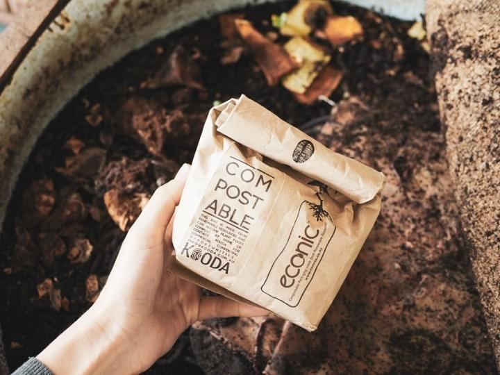 Co Lab Coffee has packages that we know we can compost!
