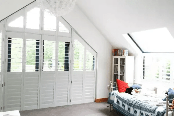 White Wooden Shutters For Triangular Windows