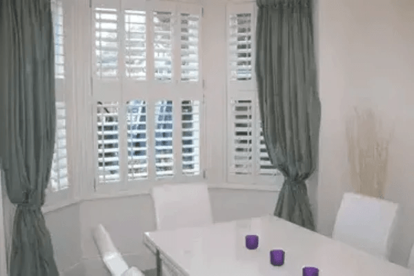 Tier on Tier Pure White 89mm Plantation Shutters