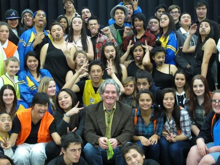 Tim Tipene with the cast and crew of the Kura Toa Stage production