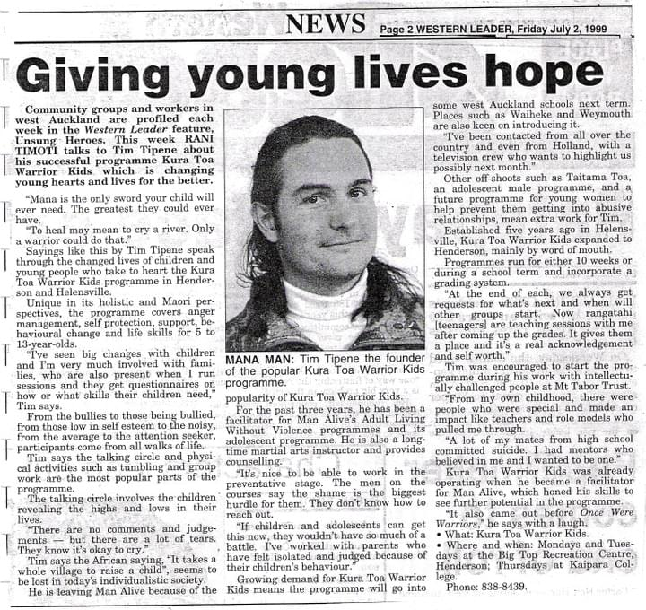 Tim Tipene giving young lives hope, 1999.
