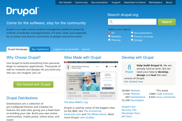 MSKCC' Drupal 6 website featured on Drupal.org's homepage.