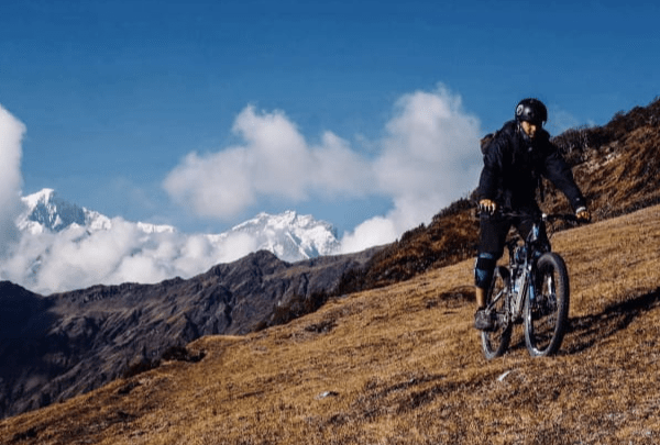 Mountain biking in Ruby valley Nepal