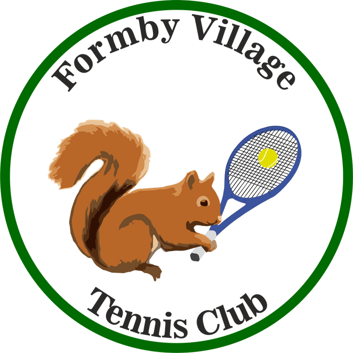 Formby Village Tennis Club Logo (squirrel with tennis racquet). To find out more about playing tennis in Formby visit www.formbytennis.com FHTTC Formby Holy Trinity Tennis Club Logo