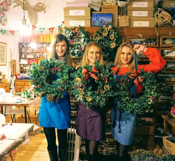 Christmas wreath class at M.Y.O
