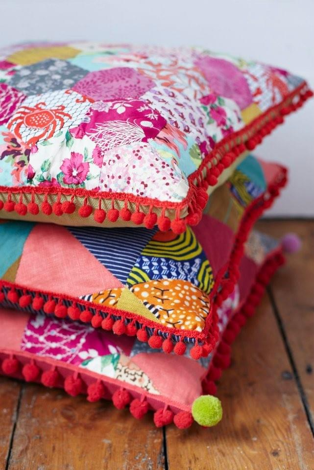 Bespoke patchwork cushions by Rebel Bunting