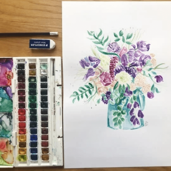M.Y.O watercolour flower painting class example