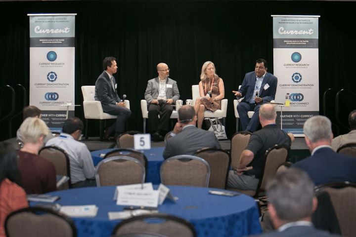 Image of a panel at the Innovators Forum at WEFTEC 2018