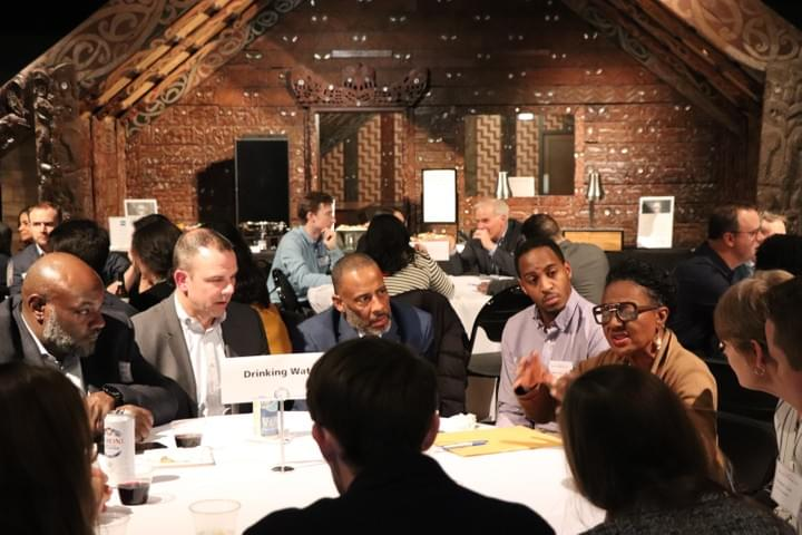 Image of attendees discussing a water-related topic at a round table at Current's Vision For Water event in January 2020