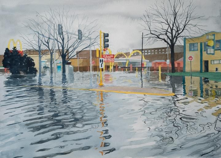 Image: Des Plaines McDonald's, by Meredith Leich. From her Chicago and the Rain series for Third Coast Disrupted: Artists + Scientists on Climate