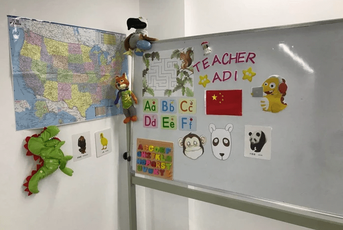 VIPKID Background and Props for online teaching, colorful items on whiteboards