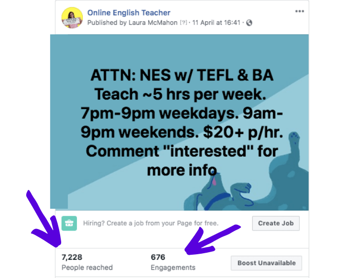 Need to hire ESL teachers? Post a job with Online English Teacher and we'll advertise your ESL Company on social media.