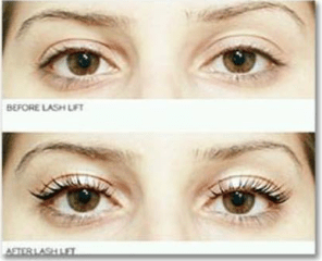 Before and after stock photo of an eyelash lift (an available service at Tranquility Spa Salon in Brooklyn Park, MN)