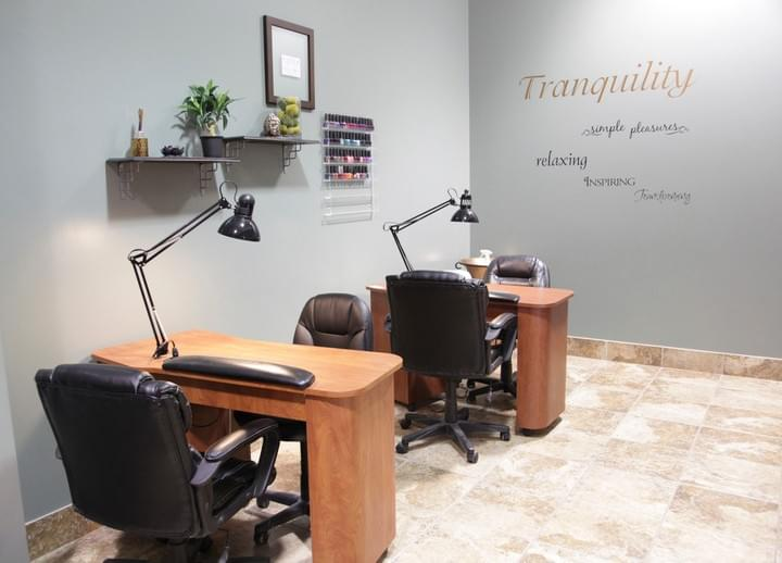 Two nail (mani) stations at Tranquility Spa Salon in Brooklyn Park, MN