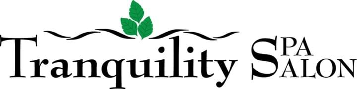 Logo for Tranquility Spa Salon in Brooklyn Park, MN (green leaves appear above the text)