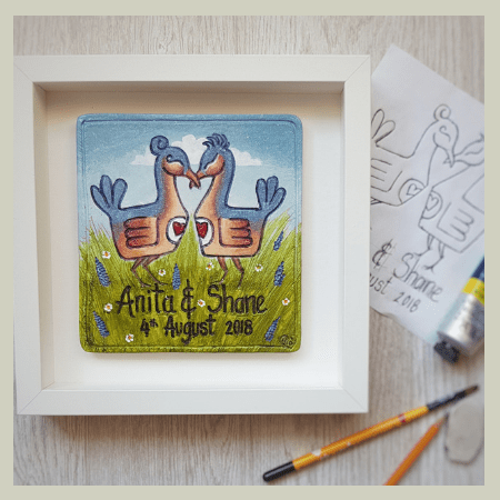 Wedding Lovebird Tile - Mol's Tiles