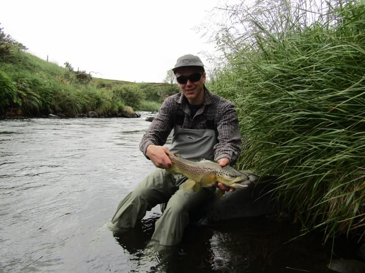 Dan de Jong with his first trout of the day November 2018