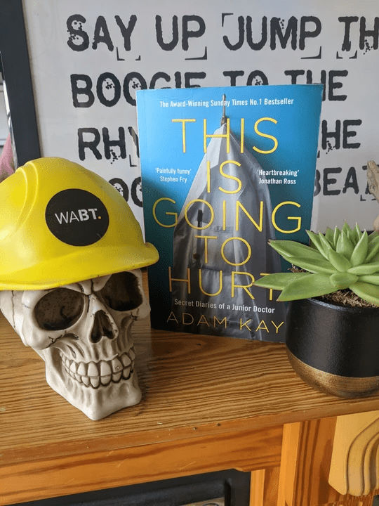 We Are Brass Tacks. Internal comms agency. Fred the Head. Book of the month. This Is Going To Hurt. Skull wearing yellow hard hat on mantelpiece beside blue book and succulent plant.