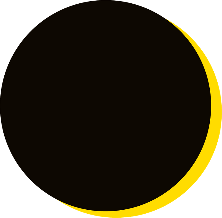 We Are Brass Tacks. Internal comms Agency.  Black circle with yellow drop shadow. Circle is empty. Invisible Leadership.