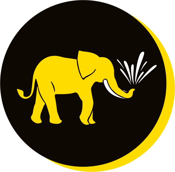 We Are Brass Tacks. Internal comms Agency.  Black circle with yellow drop shadow. Profile of yellow elephant facing right in centre of circle with shoots of water coming from trunk. Bad Habit Creep.