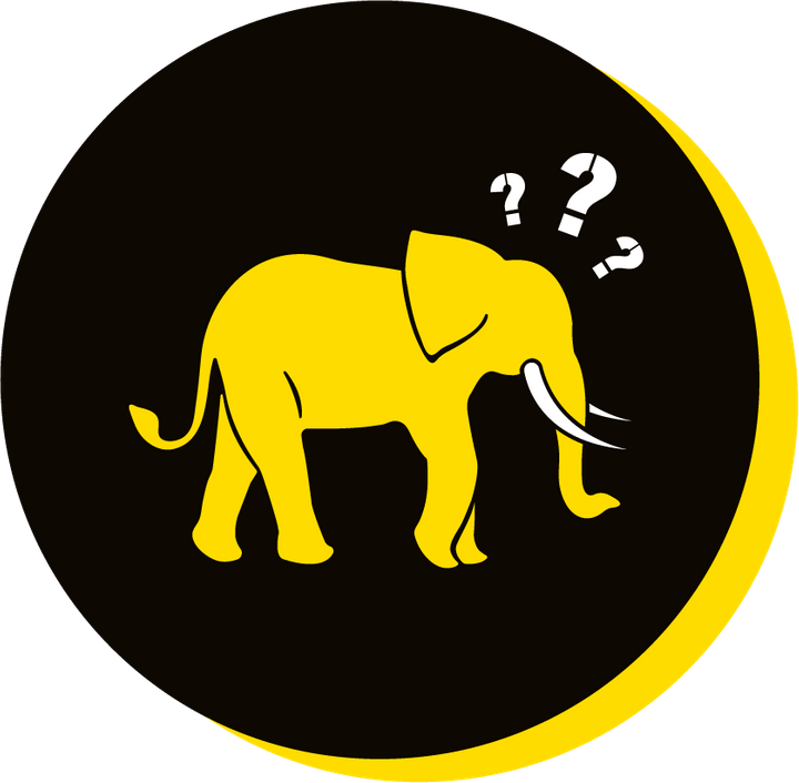 We Are Brass Tacks. Internal comms Agency.  Black circle with yellow drop shadow. Profile of yellow elephant facing right in centre of circle with question marks coming from head. Corporate Clutter.