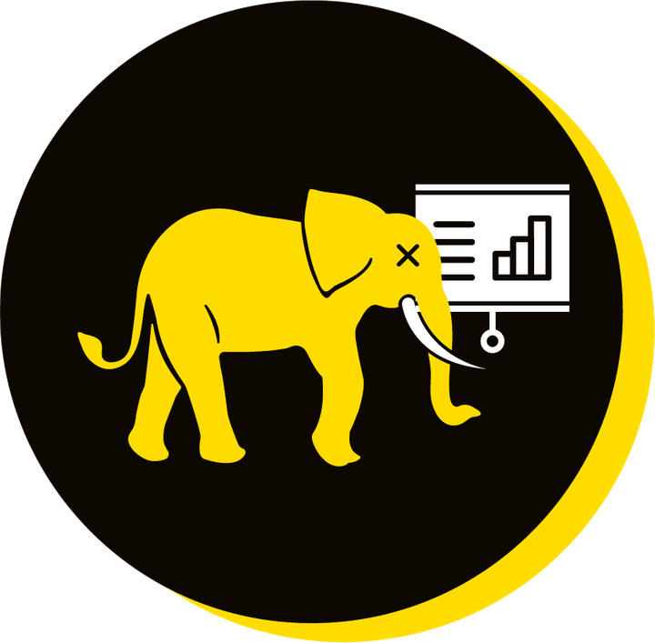 We Are Brass Tacks. Internal comms Agency.  Black circle with yellow drop shadow. Profile of yellow elephant facing right in centre of circle with screen and graph in background. Death by PowerPoint.