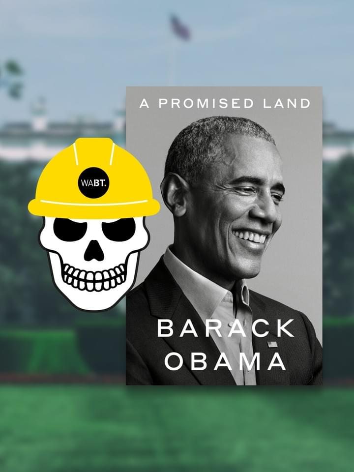 We Are Brass Tacks. Internal comms agency. Fred the Head. Book of the month. A Promised Land by Barack Obama. Illustrative skull wearing a hard hat beside front cover of book.