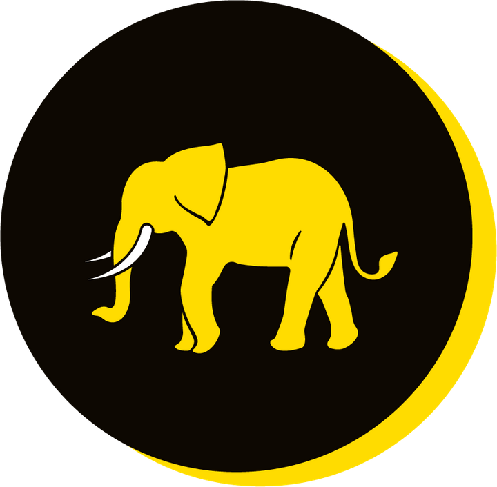 We Are Brass Tacks. Internal comms Agency.  Black circle with yellow drop shadow. Profile of yellow elephant facing left in centre of circle. Rule Breaking.
